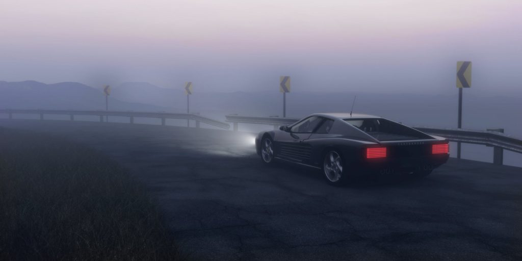 an image of a car driving safely in the fog