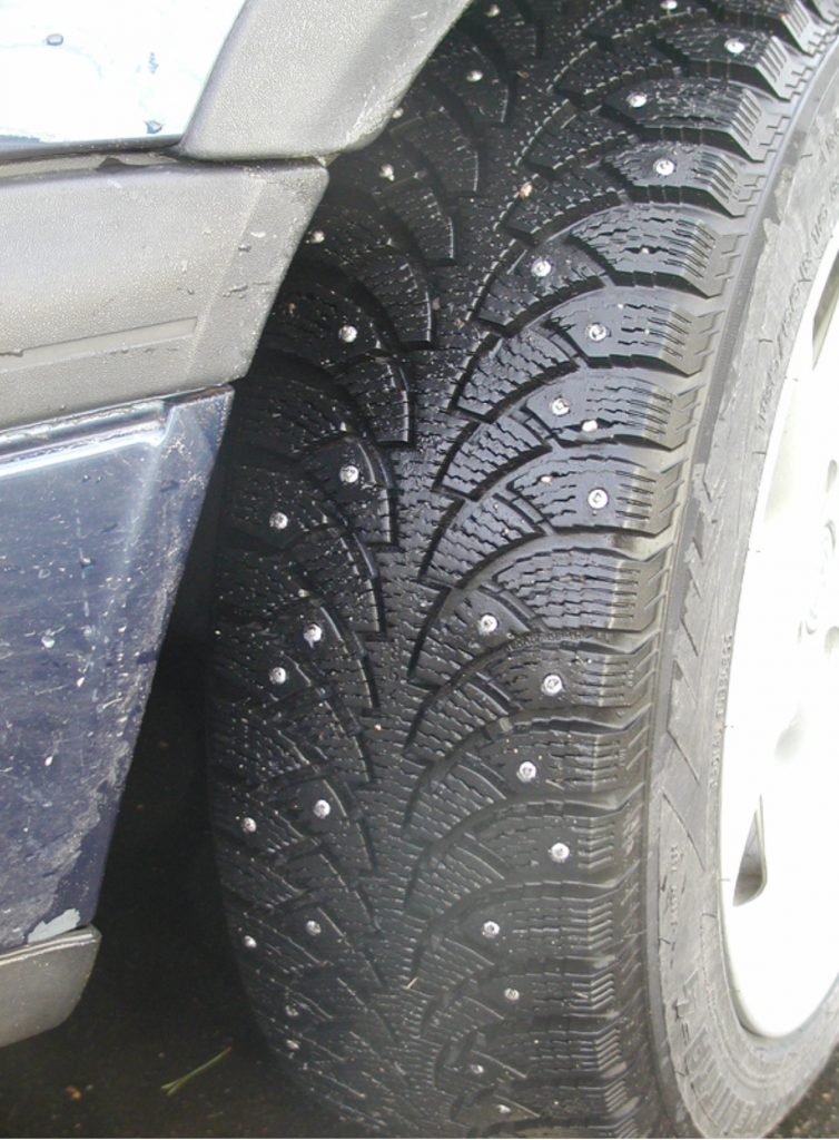 An image of a studded tyre